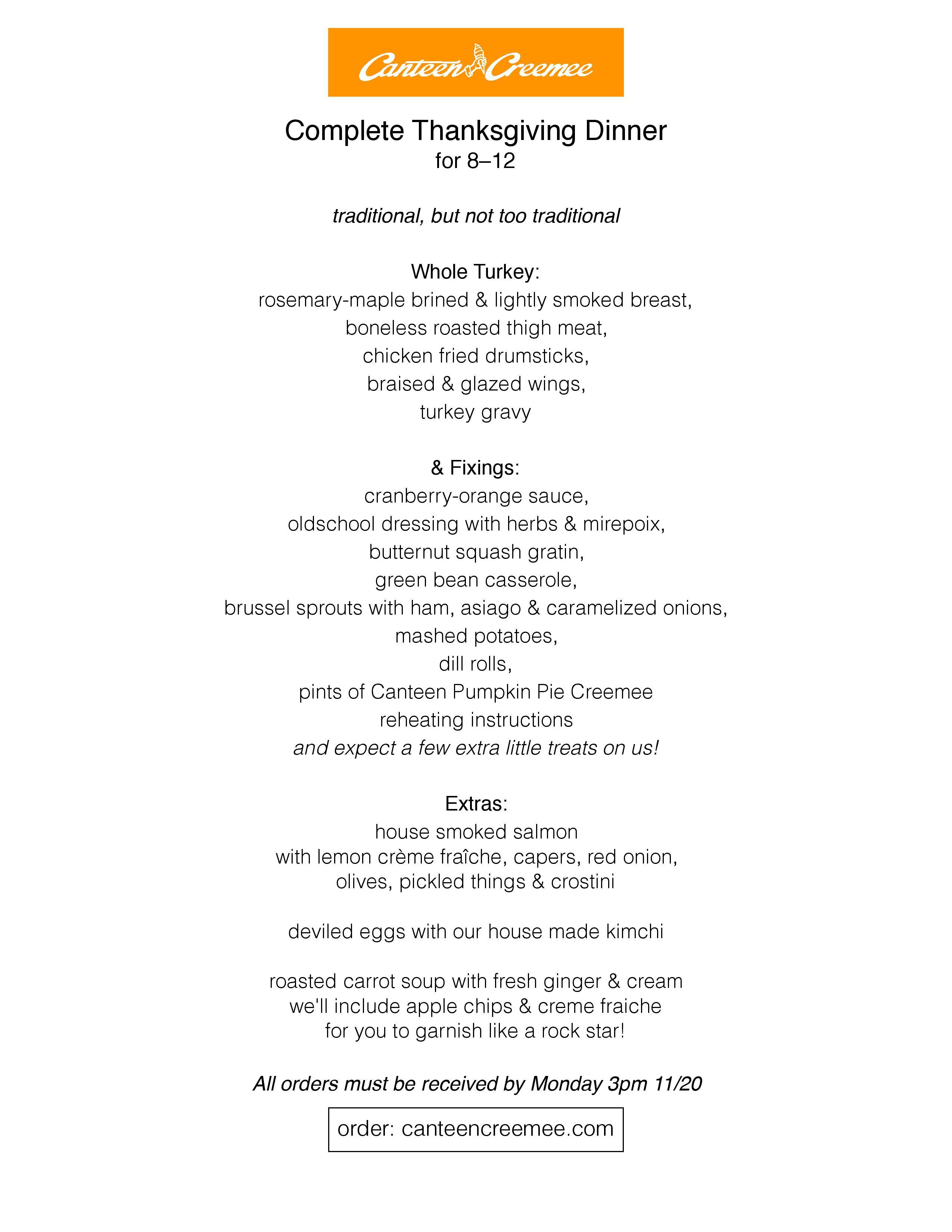 Canteen Creemee menu